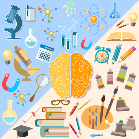 psychology: Brain left and right hemisphere power mind art and creativity analyst and thinking vector concept