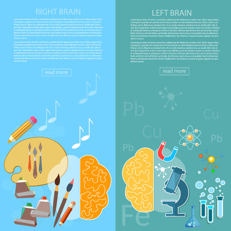 analytical: Brain power of the mind left and right hemisphere creativity art and analytical thinking vector banners