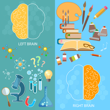 logic: Left and right brain functions, right - analysis logic, left - creativity and art, education and science vector banners