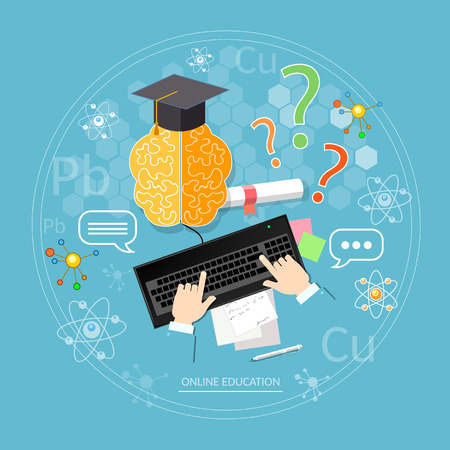 learns: Online education student learns diploma laptop distance tutorials university college vector concept