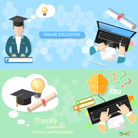 pedagogy: Online education distance tutorials student studying lecturer lessons university college diploma laptop vector banners Illustration