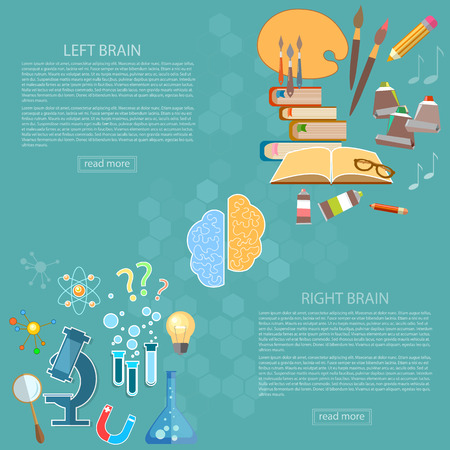 creativity: Left and right side of the brain logic and creativity back to school sciences and arts vector banners