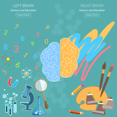 analytical: Left and right brain analytical and creativity back to school sciences and arts vector concept