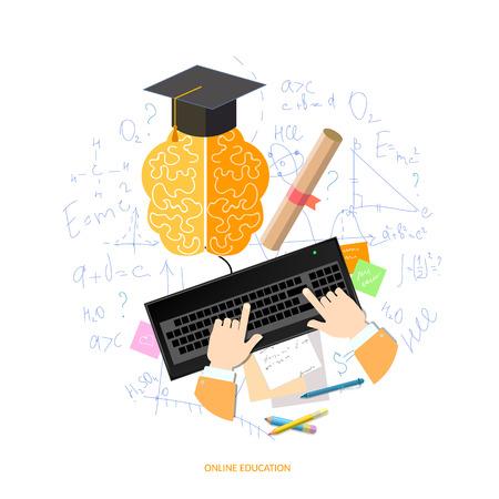 onderwijs: Onderwijs afstandsonderwijs student leert de school universiteit e-learning concept met computer Stock Illustratie