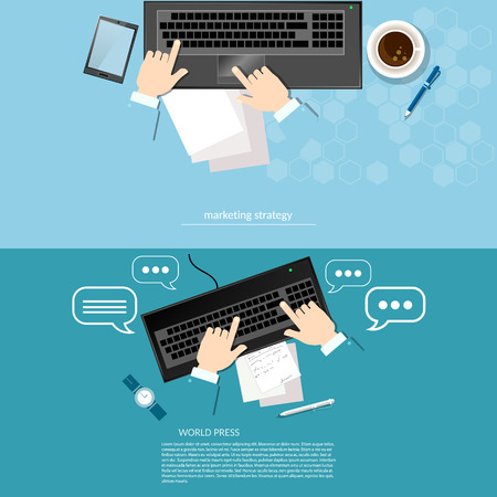 strategy development: Office work laptop hands businessman profit and sales solution of the problem analysis tactics and strategy of startups vector banners