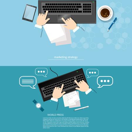 estrategia: Trabajo de oficina laptop manos negocios soluci�n de ventas de las t�cticas de an�lisis de problemas y ganancias y la estrategia de banners startups vector Vectores