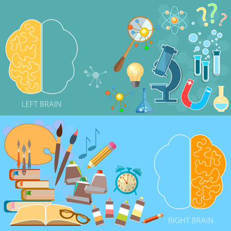 creativity concept: Left and right brain functions concept analytical and creativity sciences and arts back to school vector banners