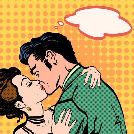 Lovers passionate kiss of a man hugging woman love story retro style pop art Stock Illustratie