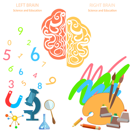 right side: Left and right side of the brain logic and creativity education back to school sciences and arts vector banners
