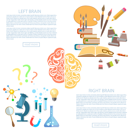 mind power: Brain power of the mind left and right hemisphere science and art education vector banners Illustration