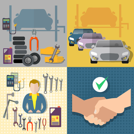 auto service: Auto service car service diagnostics auto mechanic set Illustration