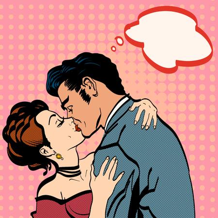 beso: Los amantes besos, el hombre besa a la mujer abrazo romántico Vectores
