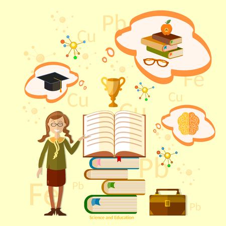schoolgirl in uniform: Education schoolgirl at the open book concept of effective teaching