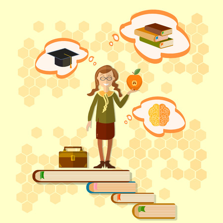 schoolgirl uniform: Education schoolgirl back to school power of knowledge education concept Illustration