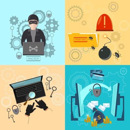 cracking: Hacker activity computer bank account hacking and e-mail spam viruses password cracking flat icons set
