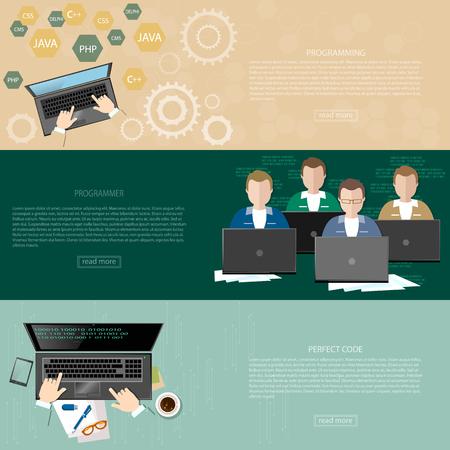 programmers: Programming concept process coding teamwork desktop group of students programmers developer software development training banners