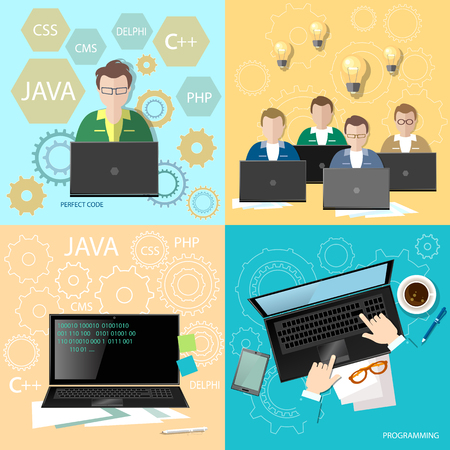 Education programmers group students learning code development team programming binary code creation of sites and programs flat set Illustration