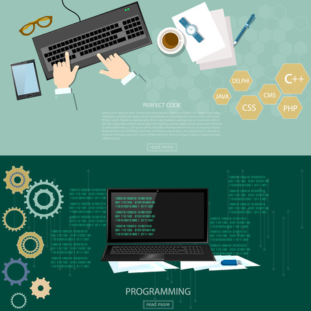 Programming process man writing programming code and data processing on computer binary code on a monitor banners