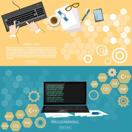 working place: Programming working place desktop programmer software development code on laptop banners