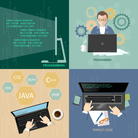 the programmer: Programming concept process coding teamwork desktop programmers developer training flat set Illustration