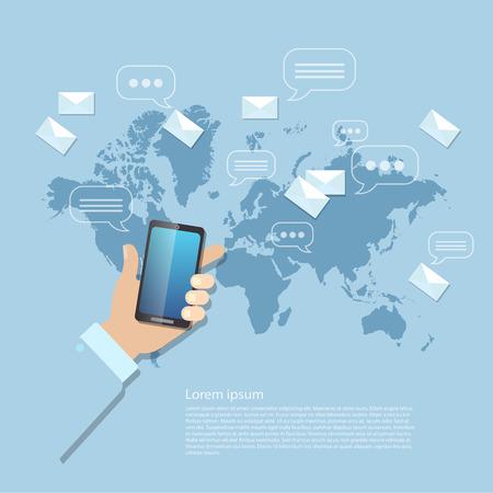Het verzenden van berichten MMS SMS touchscreen mobiele telefoon wereldwijde communicatie Stockfoto - 48396272