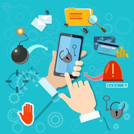 손에 모바일 스마트 폰을 해킹 훔치는 암호가 도난 스팸 바이러스 계정 스톡 콘텐츠 - 48396278