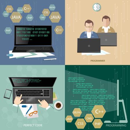 Group of programmers programming concept developer training process coding teamwork desktop programmers flat set