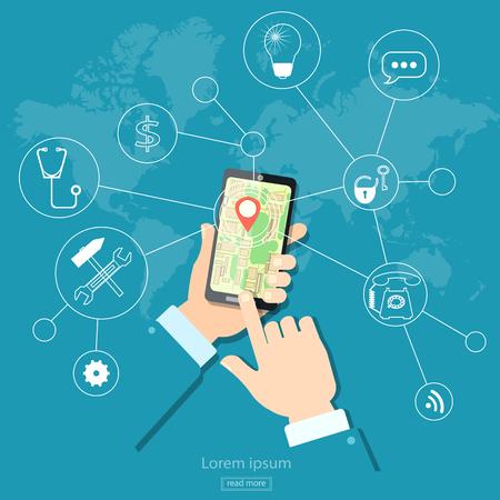 to navigation: Geolocalizaci�n de navegaci�n GPS de pantalla t�ctil m�vil