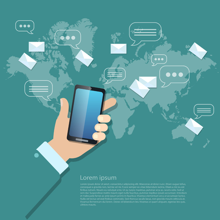 mobile sms: Global communications sending messages mms sms touch screen mobile phone