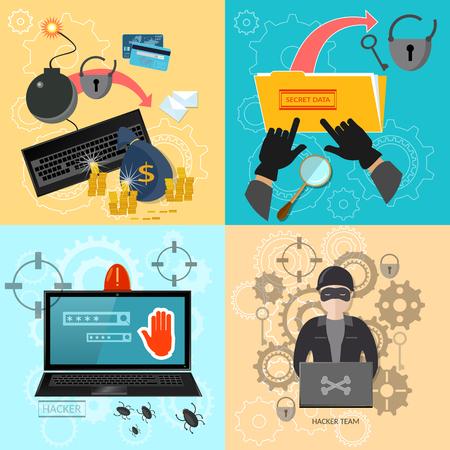 Hacker activity computer password theft mailing virus bank account hacking flat  set