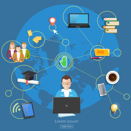 student life: Social networks teamwork people management online education student life concept Illustration