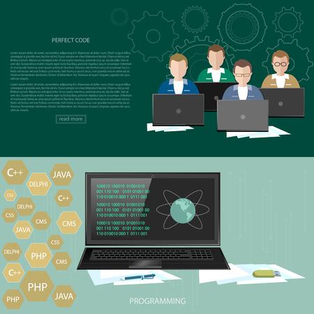 java script: Programming concept developer training process coding banners