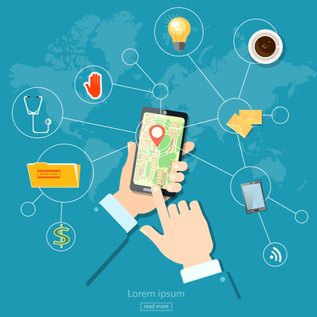 Geolocation gps navigation address and location touch screen mobile