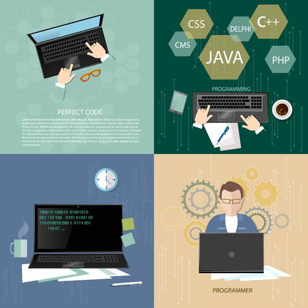programmers: Programmers concept software engineer coding in the computer work process teamwork binary code vector set Illustration