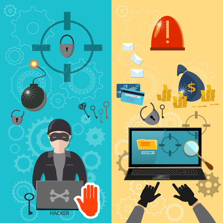 computer viruses: Hacker activity computer bank account hacking e-mail  viruses banners