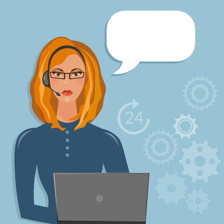 call center female: Call center female support operator speech bubble Illustration