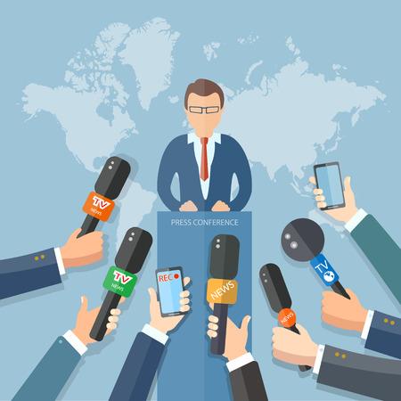 reportero: Mundo conferencia de noticias de la televisión en vivo las manos de los periodistas micrófonos concepto entrevista Vectores