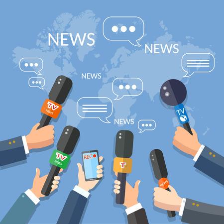 Notizie dal mondo live report stampa concetto di mani di giornalisti con microfoni e registrazione smartphone Vettoriali