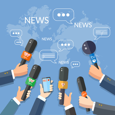 press news: World live news report press concept hands of journalists with microphones and smartphone recording