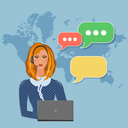 helpline: Helpline operator with headphones in call center speech bubble concept