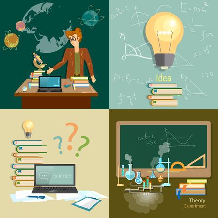algebra: Education concept teacher classroom algebra physics chemistry astronomy set Illustration