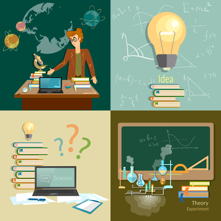 Education concept teacher classroom algebra physics chemistry astronomy set Illustration
