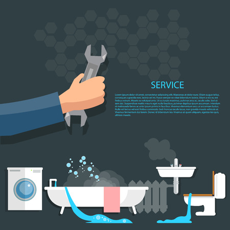 fontaneria: Reparación de fontanería cañerías tubería de calefacción reparación de limpieza servicio de desagüe del fregadero kit Vectores