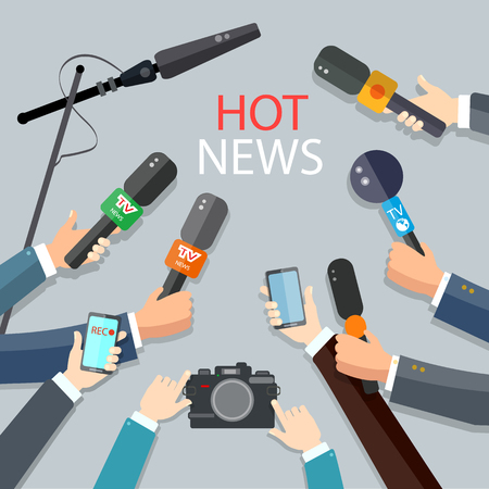 medios de comunicacion: Hot news live report concept live news hands of journalists with microphones