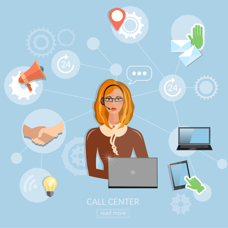 phone talking: Call center concept technical support helpline woman operator with headphones
