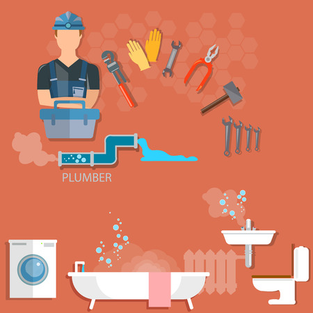 Plumber repairing pipeline and cleaning clogged sink with plunger Plumbing and renovation Illustration