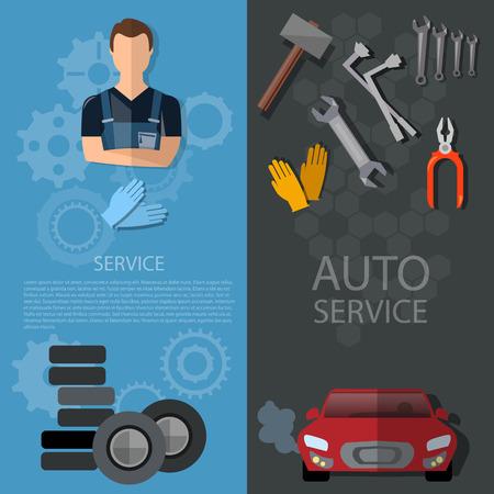 auto service: Auto service banners car repair auto mechanic tire service oil change garage technical inspection Illustration