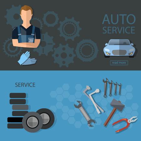 tire change: Auto service auto repair tire service oil change auto mechanic banners