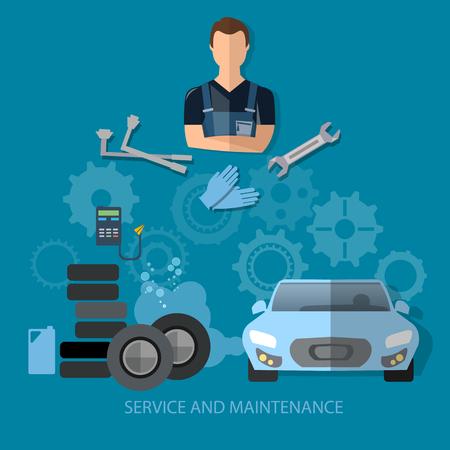 auto service: Auto service concept car repair service professional auto mechanic with wrench