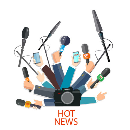 Hot news concept hands holding microphones and smartphones